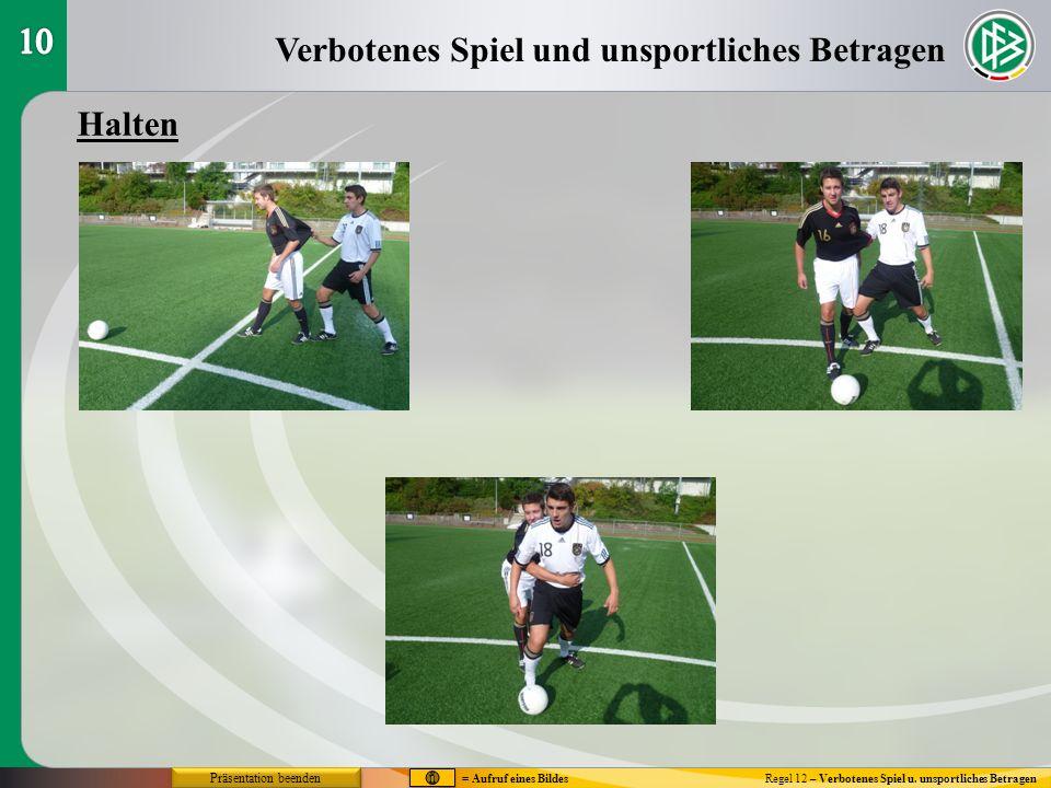 Verbotenes Spiel und unsportliches Betragen Regel 12 – Verbotenes Spiel u. unsportliches Betragen Halten Präsentation beenden = Aufruf eines Bildes