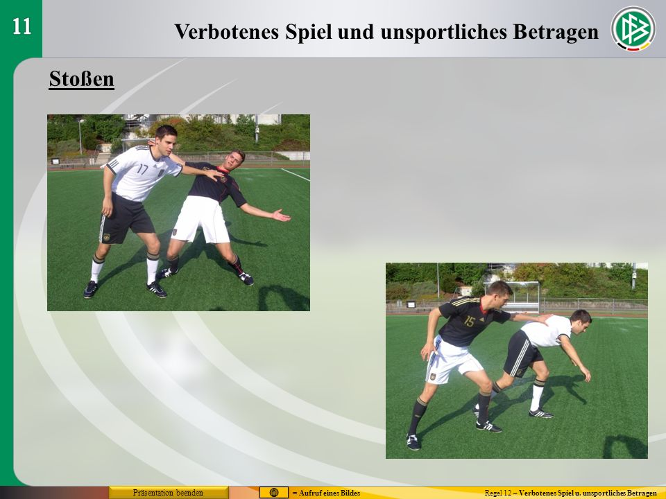 Verbotenes Spiel und unsportliches Betragen Regel 12 – Verbotenes Spiel u. unsportliches Betragen Stoßen Präsentation beenden = Aufruf eines Bildes