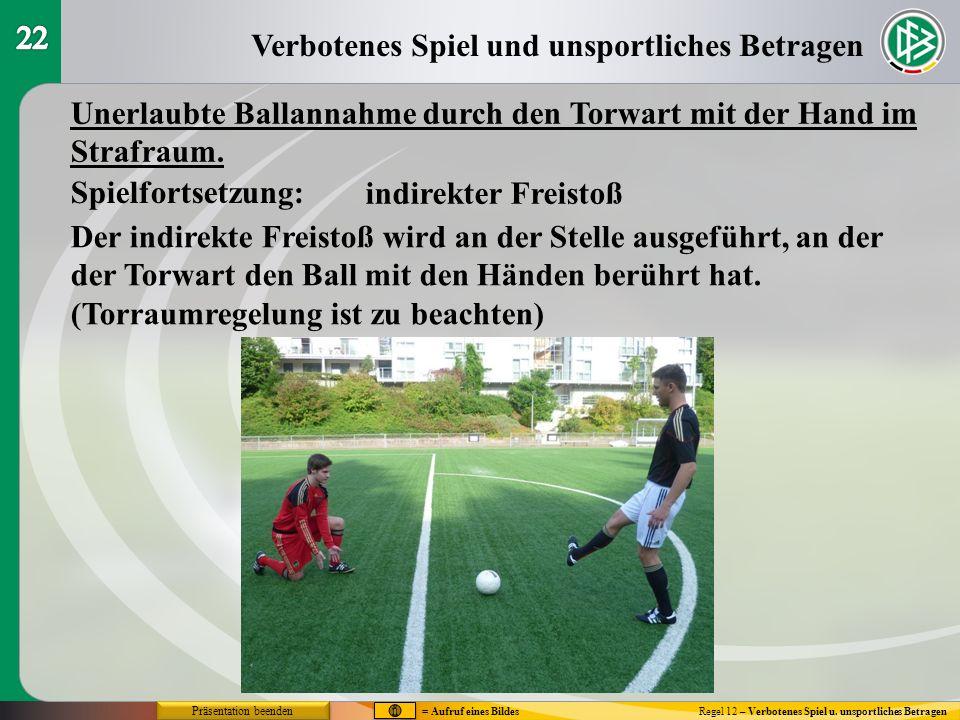 Verbotenes Spiel und unsportliches Betragen Regel 12 – Verbotenes Spiel u. unsportliches Betragen Unerlaubte Ballannahme durch den Torwart mit der Han