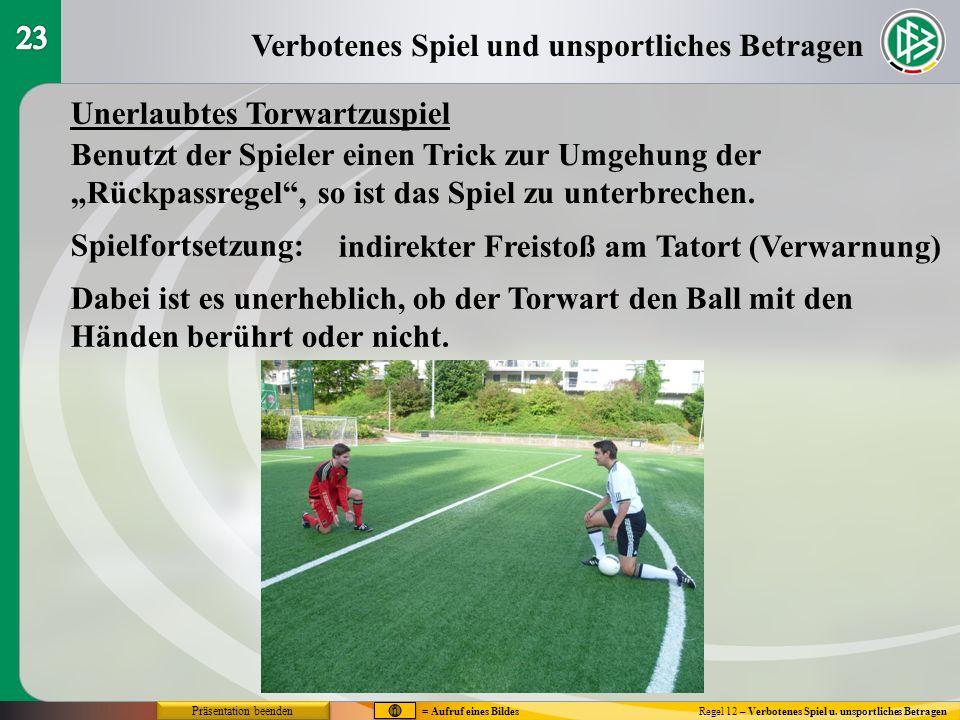 Verbotenes Spiel und unsportliches Betragen Regel 12 – Verbotenes Spiel u. unsportliches Betragen Unerlaubtes Torwartzuspiel Spielfortsetzung: indirek