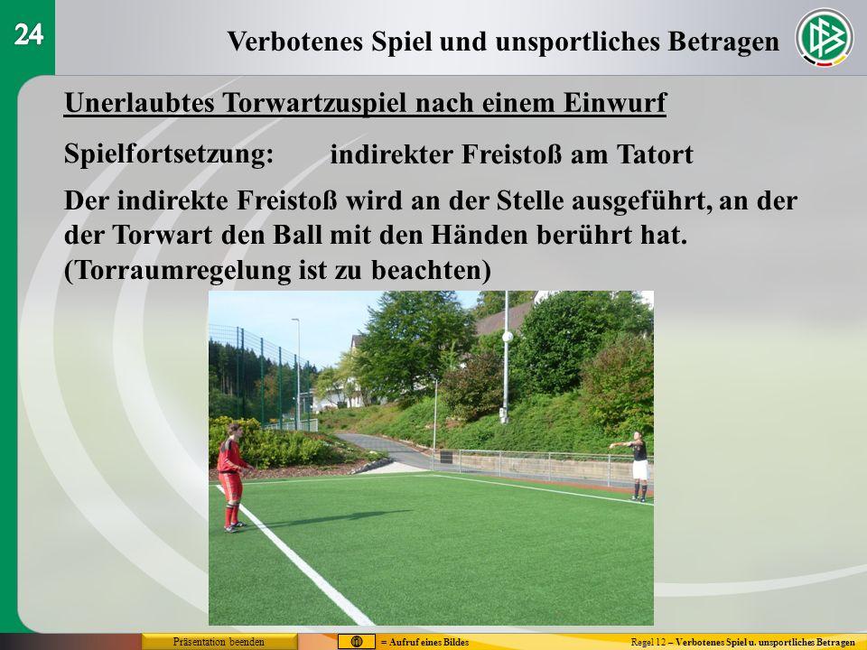 Verbotenes Spiel und unsportliches Betragen Regel 12 – Verbotenes Spiel u. unsportliches Betragen Unerlaubtes Torwartzuspiel nach einem Einwurf Spielf