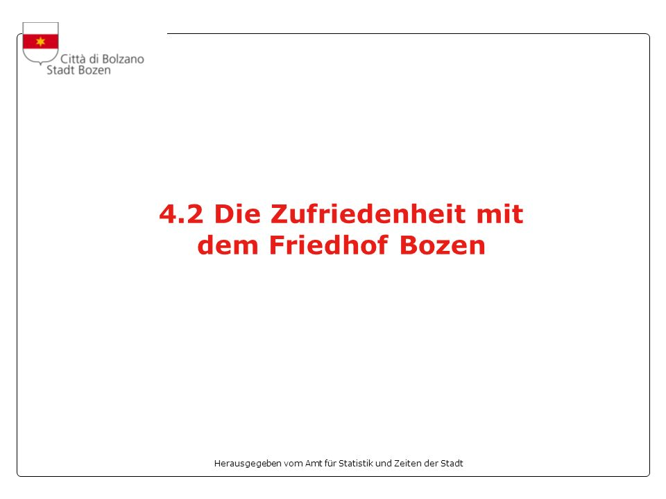 Herausgegeben vom Amt für Statistik und Zeiten der Stadt 4.2 Die Zufriedenheit mit dem Friedhof Bozen