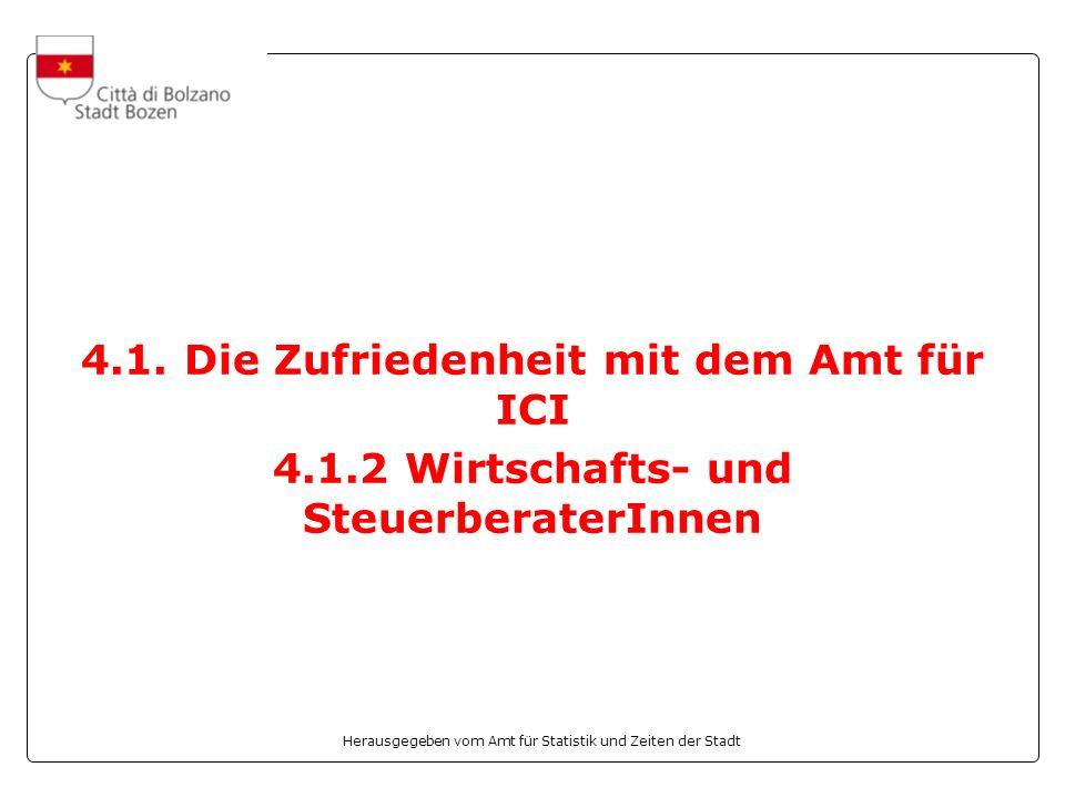 Herausgegeben vom Amt für Statistik und Zeiten der Stadt 4.1. Die Zufriedenheit mit dem Amt für ICI 4.1.2 Wirtschafts- und SteuerberaterInnen