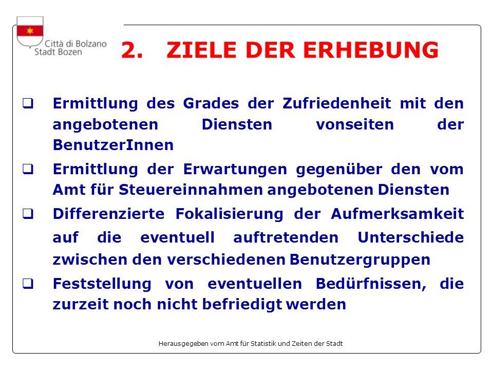 Herausgegeben vom Amt für Statistik und Zeiten der Stadt 2. ZIELE DER ERHEBUNG Ermittlung des Grades der Zufriedenheit mit den angebotenen Diensten vo