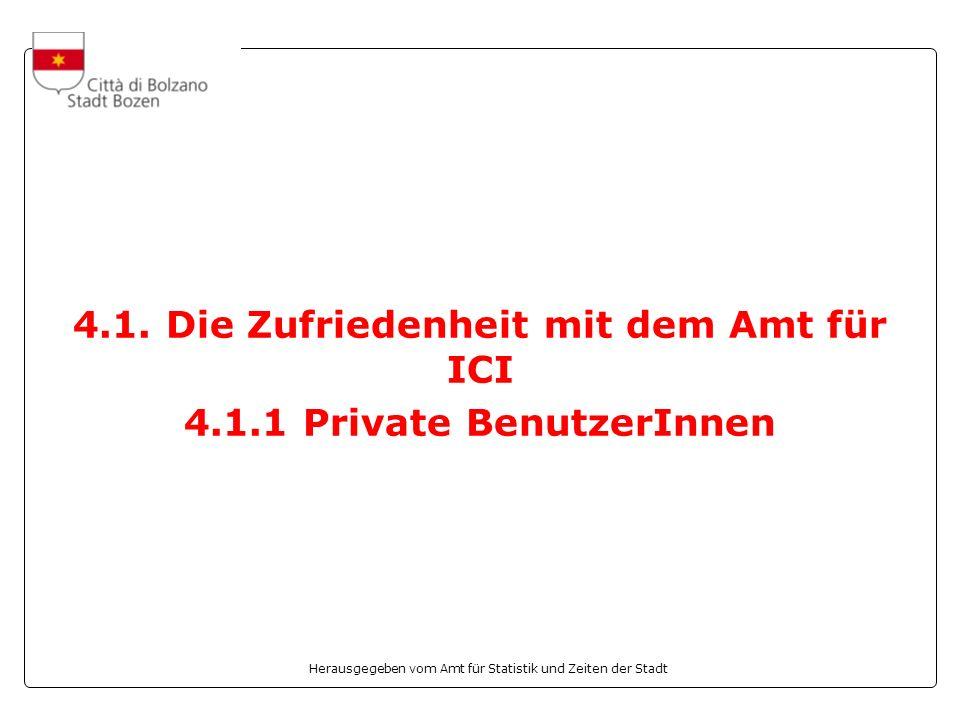 Herausgegeben vom Amt für Statistik und Zeiten der Stadt 4.1. Die Zufriedenheit mit dem Amt für ICI 4.1.1 Private BenutzerInnen
