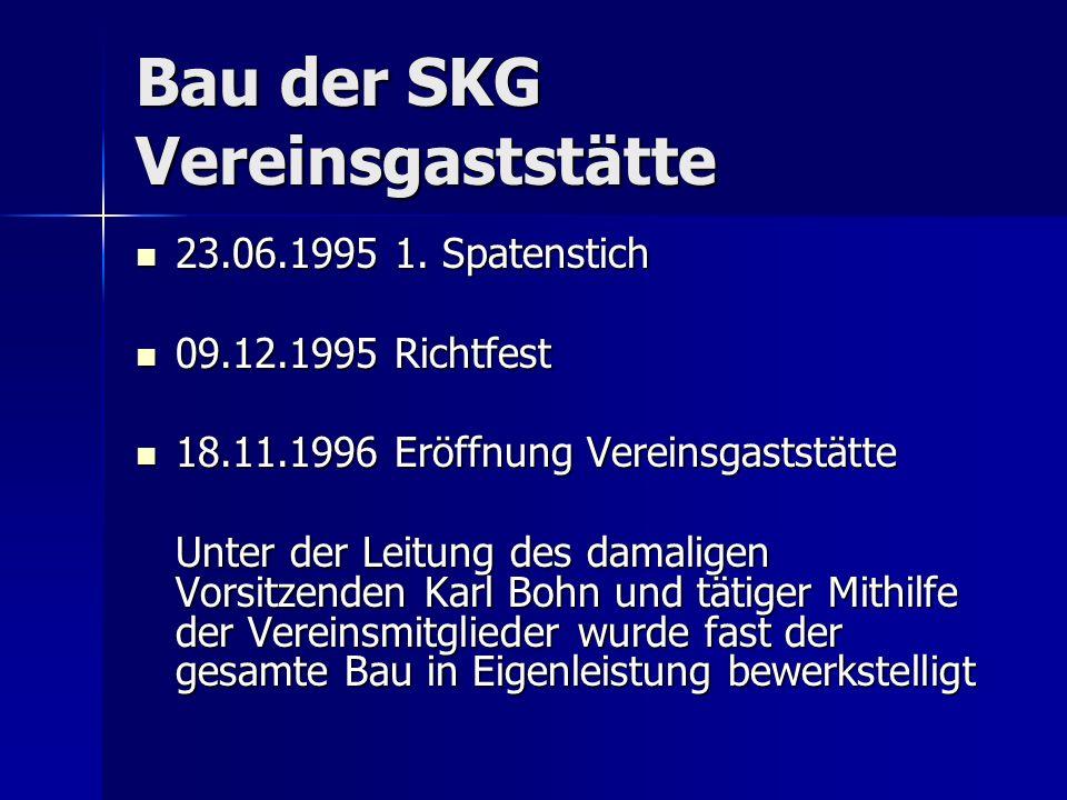 Bau der SKG Vereinsgaststätte 23.06.1995 1. Spatenstich 23.06.1995 1. Spatenstich 09.12.1995 Richtfest 09.12.1995 Richtfest 18.11.1996 Eröffnung Verei