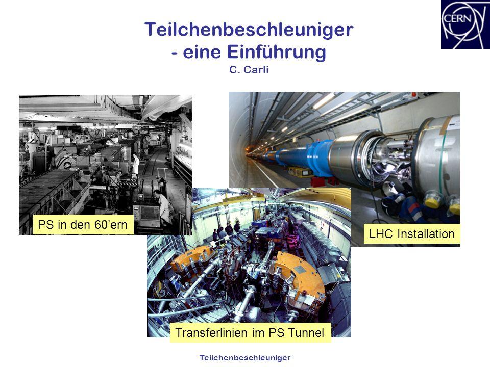 Teilchenbeschleuniger Teilchenbeschleuniger - eine Einführung C. Carli Transferlinien im PS Tunnel LHC Installation PS in den 60ern
