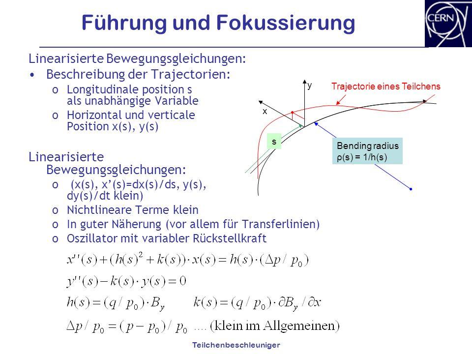 Teilchenbeschleuniger Führung und Fokussierung Linearisierte Bewegungsgleichungen: Beschreibung der Trajectorien: oLongitudinale position s als unabhä