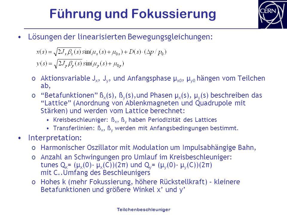 Teilchenbeschleuniger Führung und Fokussierung Lösungen der linearisierten Bewegungsgleichungen: oAktionsvariable J x, J y, und Anfangsphase µ x0, µ y