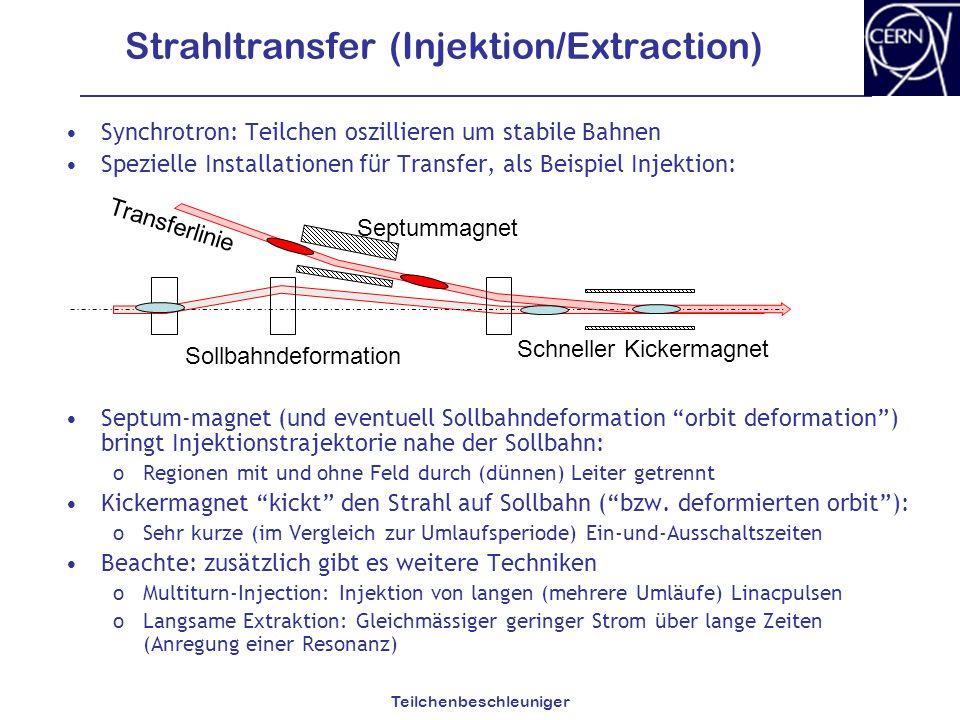 Teilchenbeschleuniger Strahltransfer (Injektion/Extraction) Synchrotron: Teilchen oszillieren um stabile Bahnen Spezielle Installationen für Transfer,