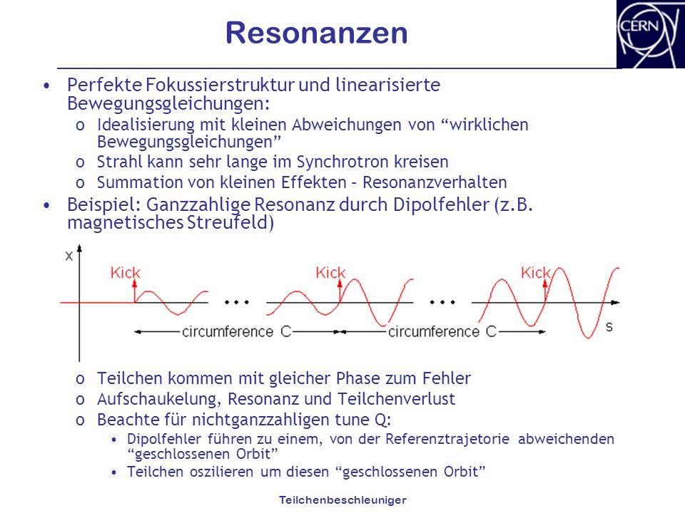 Teilchenbeschleuniger Resonanzen Perfekte Fokussierstruktur und linearisierte Bewegungsgleichungen: oIdealisierung mit kleinen Abweichungen von wirkli