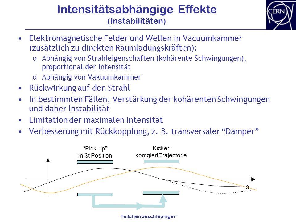 Teilchenbeschleuniger Intensitätsabhängige Effekte (Instabilitäten) Elektromagnetische Felder und Wellen in Vacuumkammer (zusätzlich zu direkten Rauml