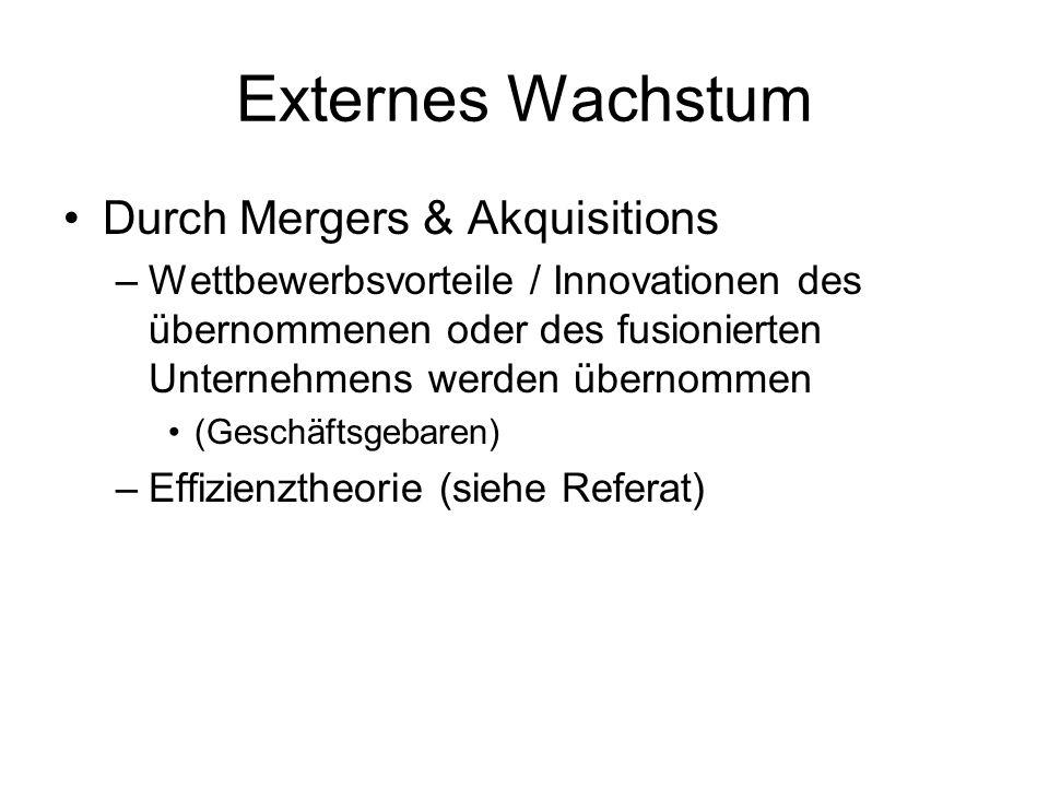 Externes Wachstum Durch Mergers & Akquisitions –Wettbewerbsvorteile / Innovationen des übernommenen oder des fusionierten Unternehmens werden übernomm