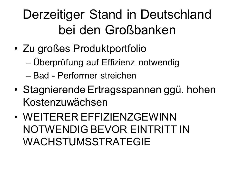 Derzeitiger Stand in Deutschland bei den Großbanken Zu großes Produktportfolio –Überprüfung auf Effizienz notwendig –Bad - Performer streichen Stagnie