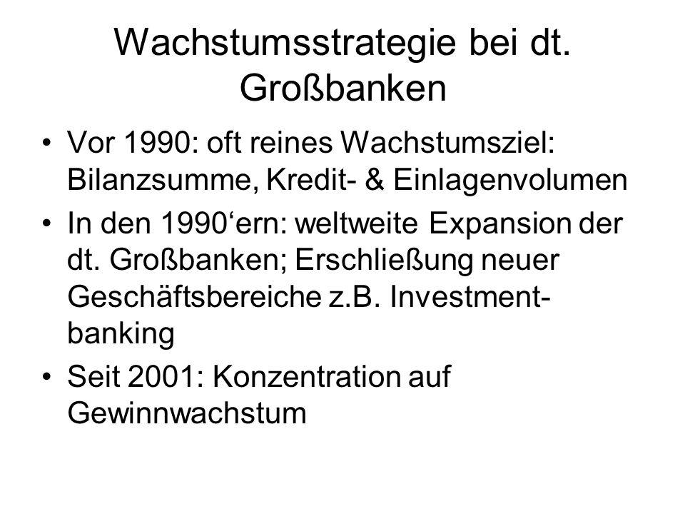 Wachstumsstrategie bei dt. Großbanken Vor 1990: oft reines Wachstumsziel: Bilanzsumme, Kredit- & Einlagenvolumen In den 1990ern: weltweite Expansion d