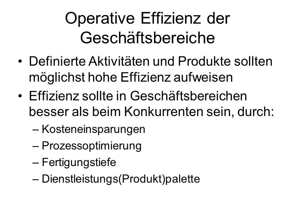 Operative Effizienz der Geschäftsbereiche Definierte Aktivitäten und Produkte sollten möglichst hohe Effizienz aufweisen Effizienz sollte in Geschäfts