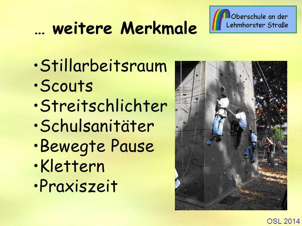 OSL 2014 Stillarbeitsraum Scouts Streitschlichter Schulsanitäter Bewegte Pause Klettern Praxiszeit … weitere Merkmale