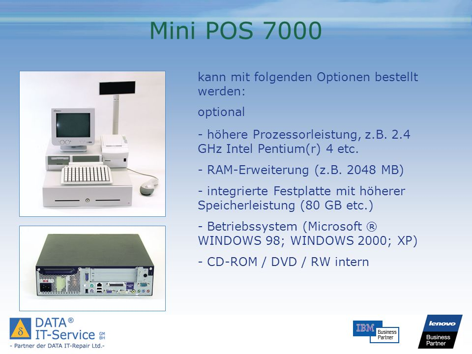 Wincor BEETLE/M II - das Modell BEETLE /M bietet trotz seiner geringen Abmaße eine hohe Flexibilität und Ausbaufähigkeit - zwei I/O-Erweiterungsslots sowie die Onboard- Schnittstellen sorgen für ausreichende Reserven - als Speicherlaufwerke können zwei Festplatten, ein Disketten- oder PCMICA-Laufwerk und ein CD- ROM/DVD-Laufwerk konfiguriert werden.