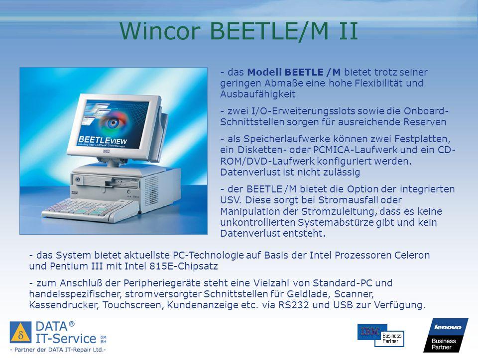 Wincor BEETLE/M II - das Modell BEETLE /M bietet trotz seiner geringen Abmaße eine hohe Flexibilität und Ausbaufähigkeit - zwei I/O-Erweiterungsslots