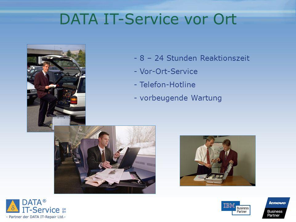 DATA IT-Service vor Ort - 8 – 24 Stunden Reaktionszeit - Vor-Ort-Service - Telefon-Hotline - vorbeugende Wartung