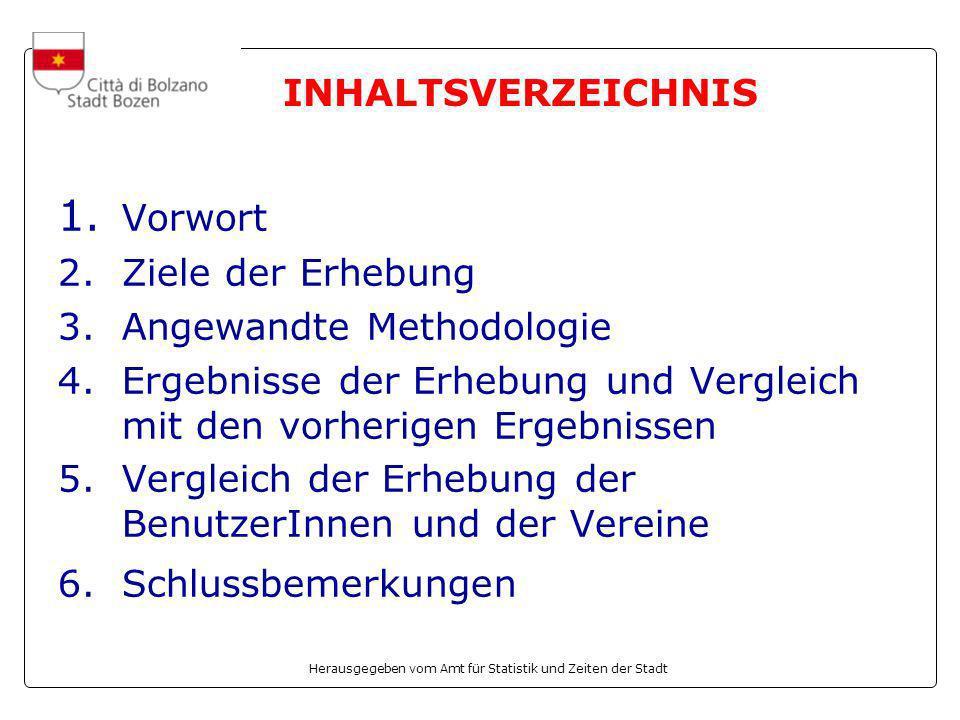 Herausgegeben vom Amt für Statistik und Zeiten der Stadt 1. Vorwort 2.Ziele der Erhebung 3.Angewandte Methodologie 4.Ergebnisse der Erhebung und Vergl
