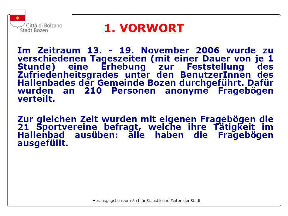 Herausgegeben vom Amt für Statistik und Zeiten der Stadt 1. VORWORT Im Zeitraum 13. - 19. November 2006 wurde zu verschiedenen Tageszeiten (mit einer