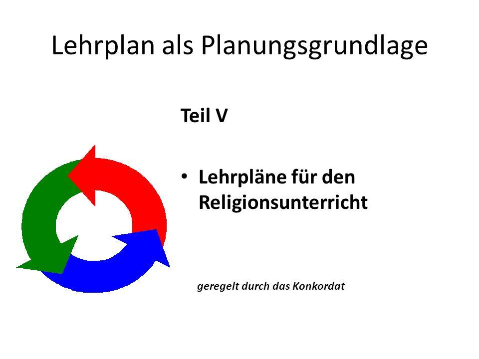 Lehrplan als Planungsgrundlage Teil V Lehrpläne für den Religionsunterricht geregelt durch das Konkordat