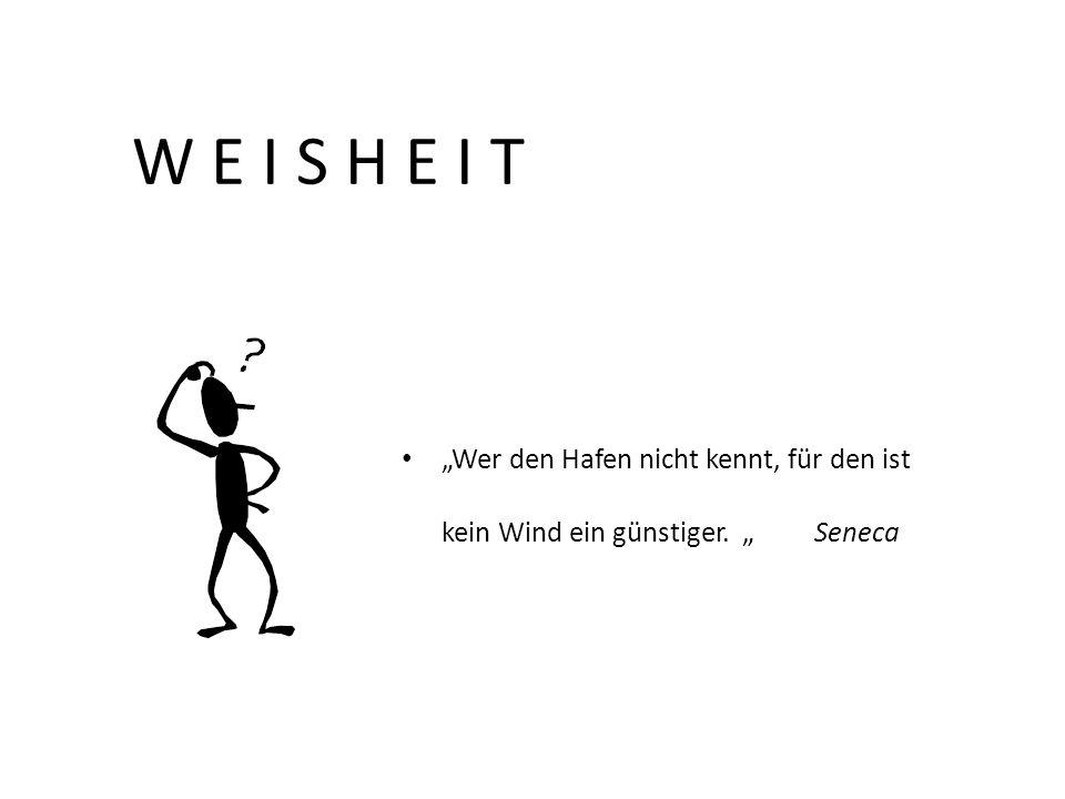 Wer den Hafen nicht kennt, für den ist kein Wind ein günstiger. Seneca W E I S H E I T