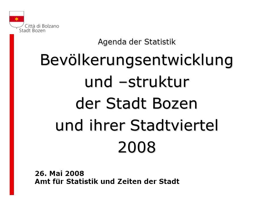 Agenda der Statistik Bevölkerungsentwicklung und –struktur der Stadt Bozen und ihrer Stadtviertel 2008 26. Mai 2008 Amt für Statistik und Zeiten der S
