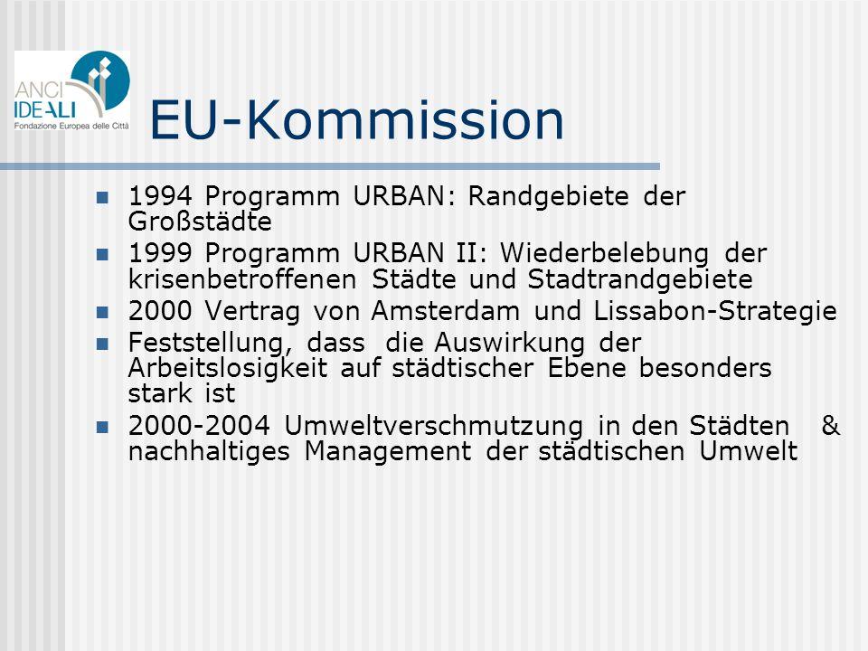 EU-Kommission 1994 Programm URBAN: Randgebiete der Großstädte 1999 Programm URBAN II: Wiederbelebung der krisenbetroffenen Städte und Stadtrandgebiete