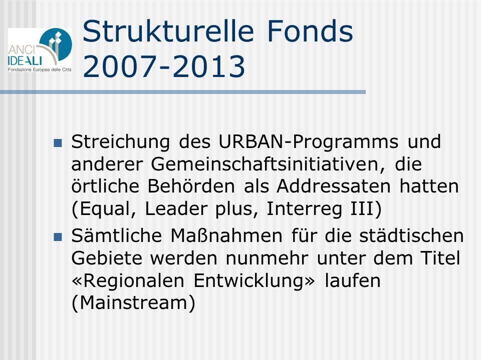 Strukturelle Fonds 2007-2013 Streichung des URBAN-Programms und anderer Gemeinschaftsinitiativen, die örtliche Behörden als Addressaten hatten (Equal,