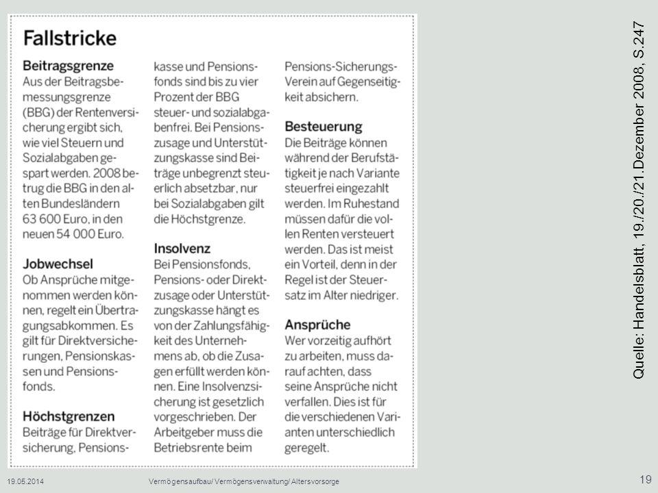 19.05.2014Vermögensaufbau/ Vermögensverwaltung/ Altersvorsorge 19 Quelle: Handelsblatt, 19./20./21.Dezember 2008, S.247