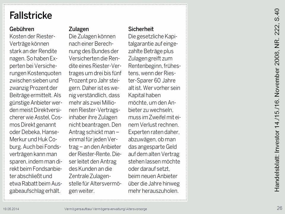 19.05.2014Vermögensaufbau/ Vermögensverwaltung/ Altersvorsorge 26 Handelsblatt: Investor 14./15./16.