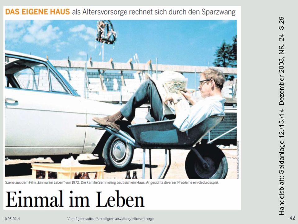 19.05.2014Vermögensaufbau/ Vermögensverwaltung/ Altersvorsorge 42 Handelsblatt: Geldanlage 12./13./14.