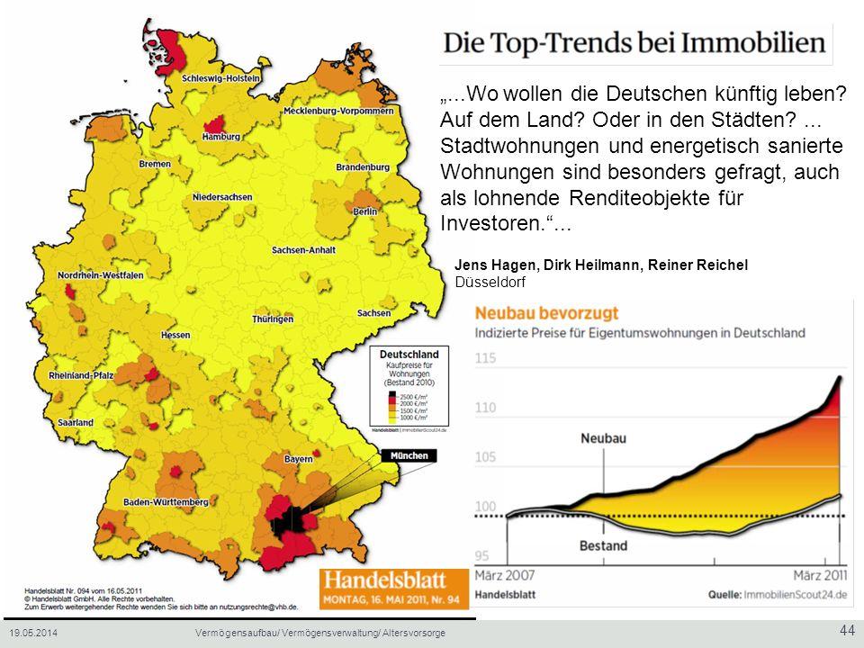19.05.2014Vermögensaufbau/ Vermögensverwaltung/ Altersvorsorge 44...Wo wollen die Deutschen künftig leben.