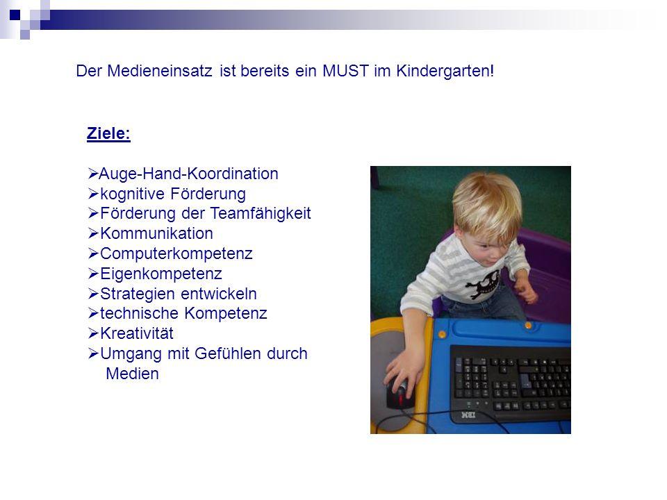 Ziele: Auge-Hand-Koordination kognitive Förderung Förderung der Teamfähigkeit Kommunikation Computerkompetenz Eigenkompetenz Strategien entwickeln tec