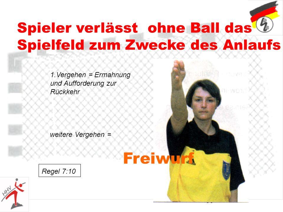 35 Spieler verlässt ohne Ball das Spielfeld zum Zwecke des Anlaufs Freiwurf 1.Vergehen = Ermahnung und Aufforderung zur Rückkehr weitere Vergehen = Regel 7:10