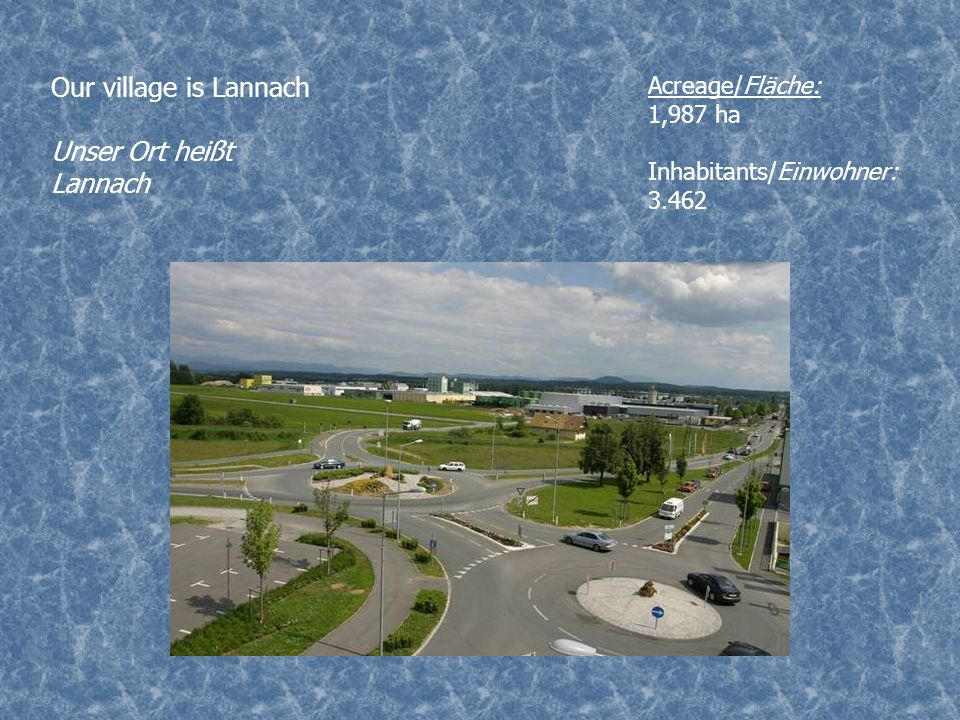 Our village is Lannach Unser Ort heißt Lannach Acreage/Fläche: 1,987 ha Inhabitants/Einwohner: 3.462