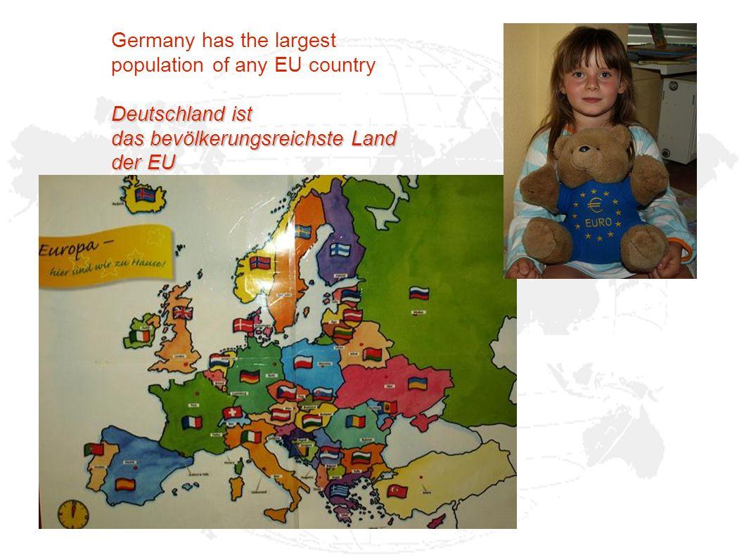 Acreage/Fläche: 357.104,07 km² Inhabitants/Einwohner: 82.002.356 Capital/Hauptstadt: Berlin Language/Sprache: German/Deutsch Currency/Währung: EUR/Euro (1 = 100 cent) O ur country is Germany Unser Land heißt Deutschland
