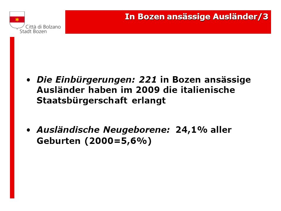 Die Einbürgerungen: 221 in Bozen ansässige Ausländer haben im 2009 die italienische Staatsbürgerschaft erlangt Ausländische Neugeborene: 24,1% aller G