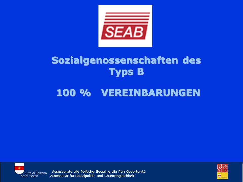 Sozialgenossenschaften des Typs B 100 % VEREINBARUNGEN Assessorato alle Politiche Sociali e alle Pari Opportunità Assessorat für Sozialpolitik und Cha