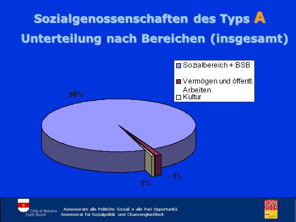 Sozialgenossenschaften des Typs A Unterteilung nach Bereichen (insgesamt) Assessorato alle Politiche Sociali e alle Pari Opportunità Assessorat für Sozialpolitik und Chancengleichheit