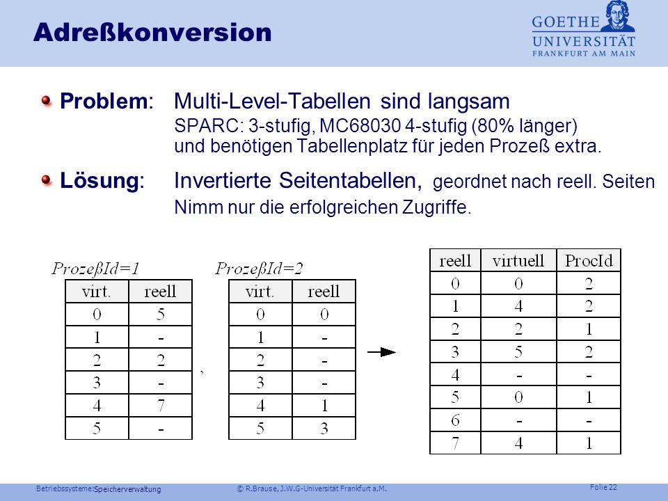 Betriebssysteme: © R.Brause, J.W.G-Universität Frankfurt a.M. Folie 21 Speicherverwaltung Adreßkonversion: 4-Level-Tabellen MC 68030 Motorola Problem: