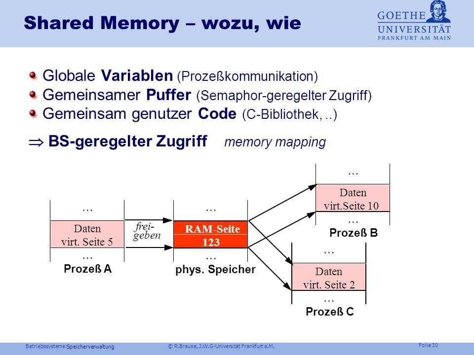 Betriebssysteme: © R.Brause, J.W.G-Universität Frankfurt a.M. Folie 29 Speicherverwaltung Virtueller Speicher: Windows NT Struktur zur Verwaltung der