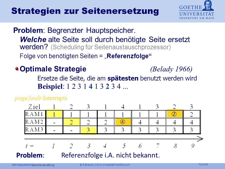Betriebssysteme: © R.Brause, J.W.G-Universität Frankfurt a.M. Folie 35 Speicherverwaltung Seitenersetzung page- fault- Aktionen des Betriebssystem Aus
