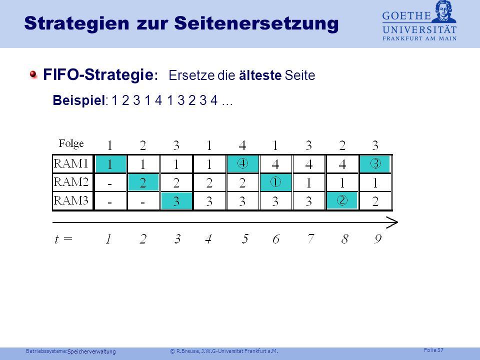 Betriebssysteme: © R.Brause, J.W.G-Universität Frankfurt a.M. Folie 36 Speicherverwaltung Strategien zur Seitenersetzung Problem: Begrenzter Hauptspei