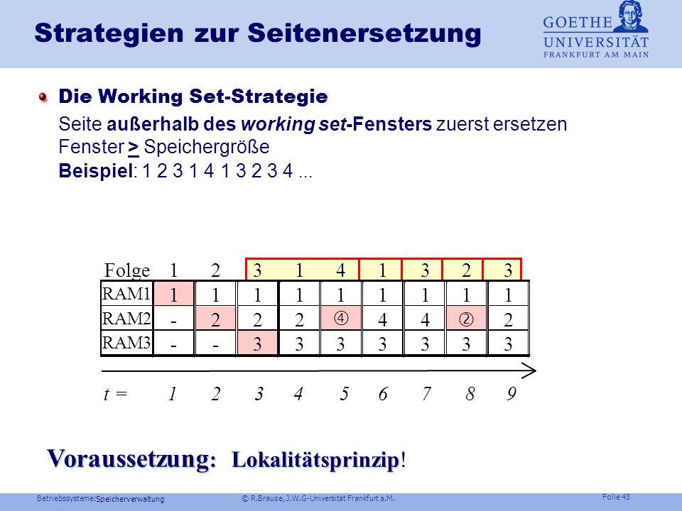 Betriebssysteme: © R.Brause, J.W.G-Universität Frankfurt a.M. Folie 42 Speicherverwaltung Die Arbeitsmenge (working set) eines Prozesses Minimale Seit