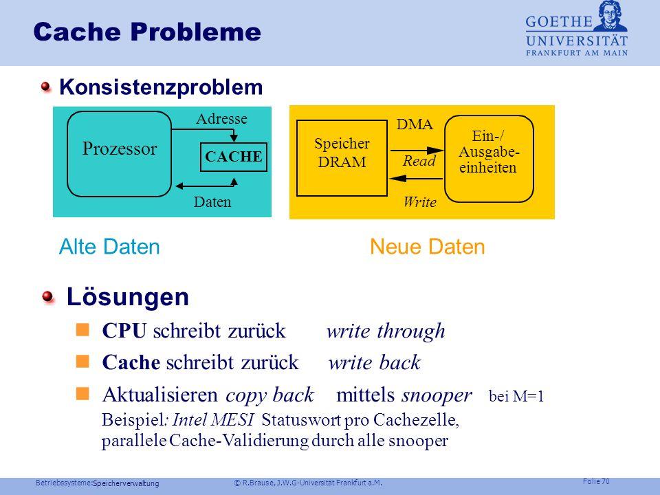 Betriebssysteme: © R.Brause, J.W.G-Universität Frankfurt a.M. Folie 69 Speicherverwaltung Cache Architektur Schneller Speicherzugriff durch schnellen