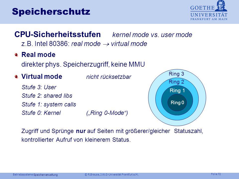 Betriebssysteme: © R.Brause, J.W.G-Universität Frankfurt a.M. Folie 71 Speicherverwaltung Speicherschutz Virt.Speicher: keine Adressiermöglichkeit des
