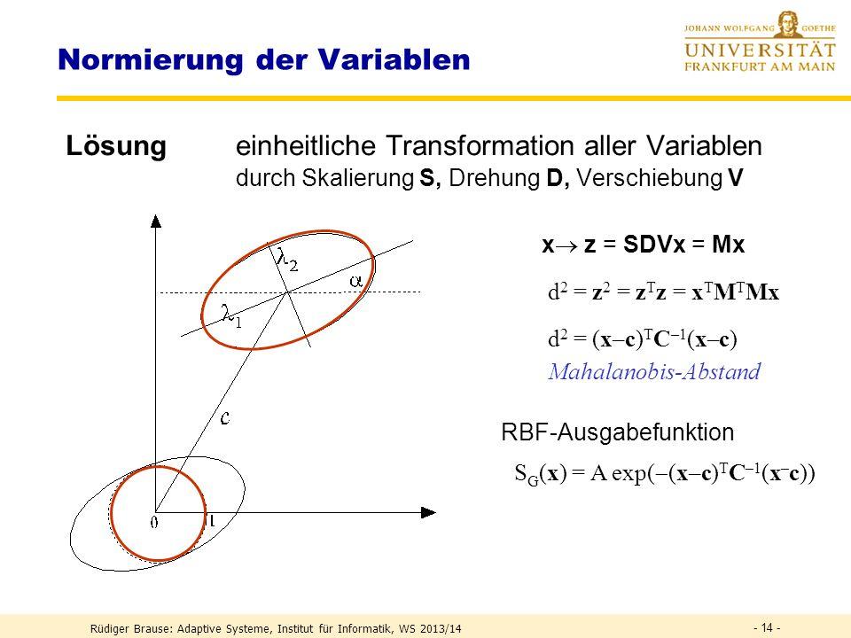 Normierung der Variablen Problem PCA etc. problematisch bei heterogenen Variablen, z.B. (x 1 [cm], x 2 [Pascal], x 3 [°C]) Welche Einheiten pro Dimens